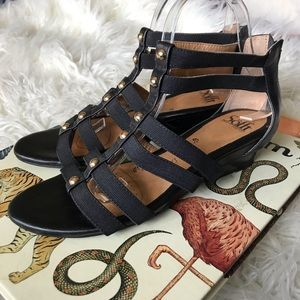 Soft black leather gladiator wedge sandals